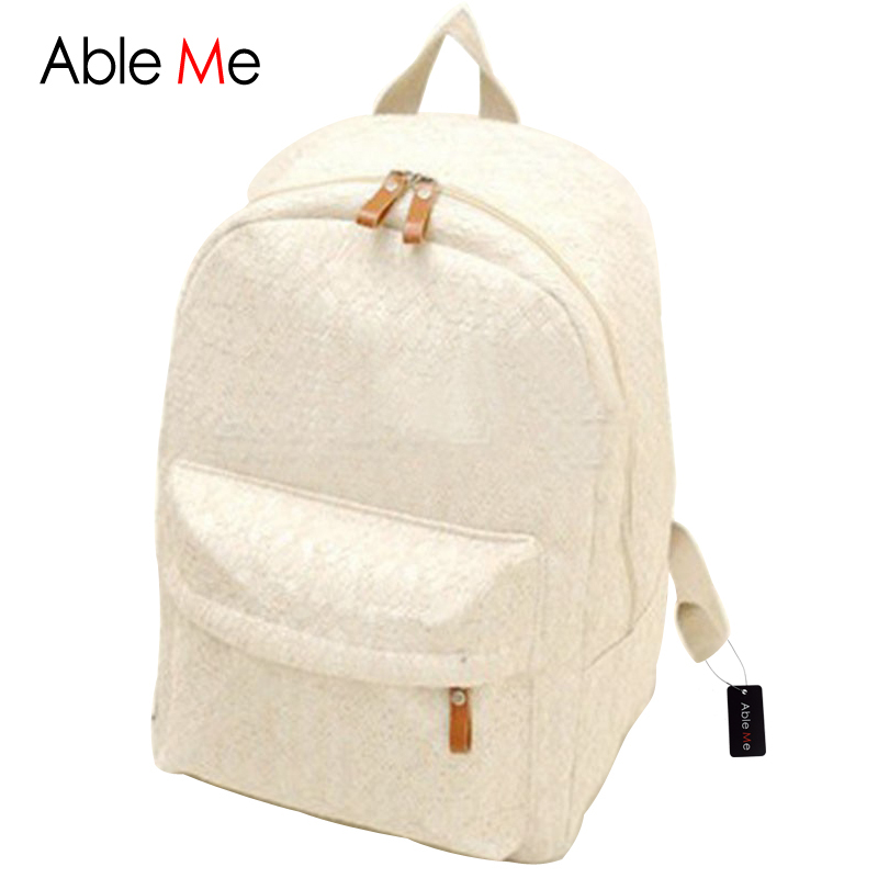 ФОТО AbleMe Fashion Canvas Backpack Lace Women Backpack Travel Bags Sac A Dos Femme Rucksack Student School Bags For Teenage Girls