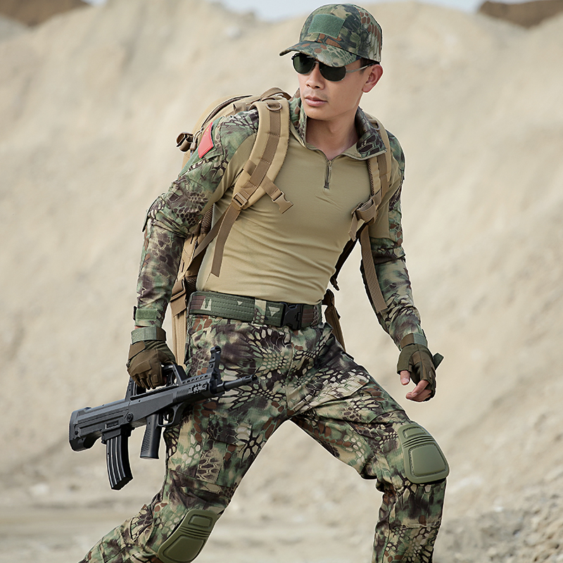 Camouflage Multicam Hunting Outfit Frog Clothes Suits Army Military Clothing Sets Men Uniforms Gift Kneepads and Elbow Pads kryptek mandrake frog fighting suit police frog uniforms army trainning uniform set one long sleeve shirt and one tactical pant