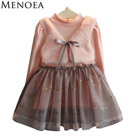 Menoea Long Sleeve Girl Dress 2016 New Autumn Dresses Children Clothing Princess Dress PinkWool Bow Design