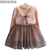 Menoea Long Sleeve Girl Dress 2016 New Autumn Dresses Children Clothing Princess Dress PinkWool Bow Design