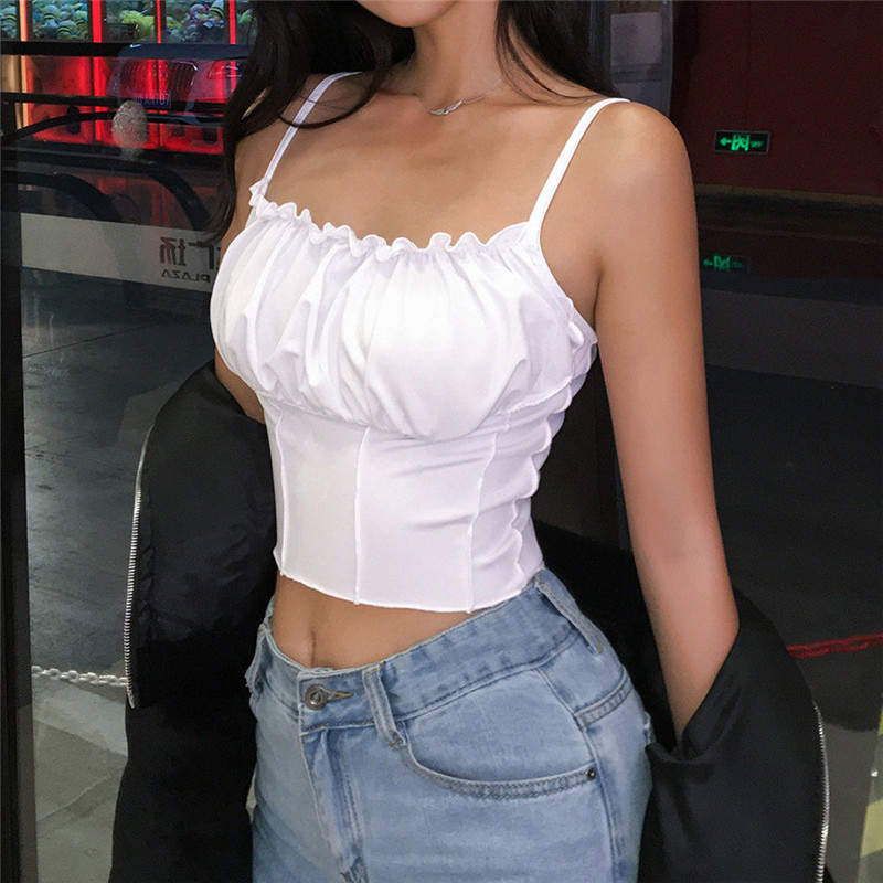 Sexy 2019 Summer Women Ruffles Tank Top Fashion Ladies Sleeveless Strapless Ruched Slim Crop Top Camisole Female Clothing Tanks(China)