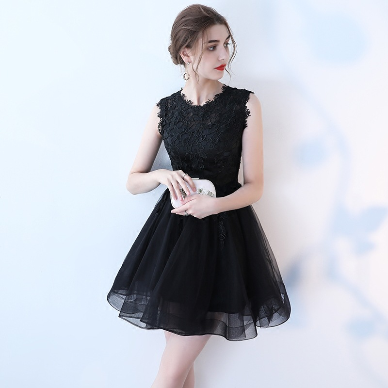 Bridesmaid Dress Short Style 2019 New Spring Black Slim Student Formal Dress O-neck Above Knee Length Wedding Party Dresses
