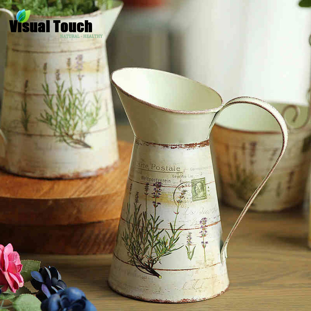 Aliexpress buy visual touch american country style metal art aliexpress buy visual touch american country style metal art retro vintage oblique decorative vase wlavender flower pattern jug pitcher from reliable reviewsmspy