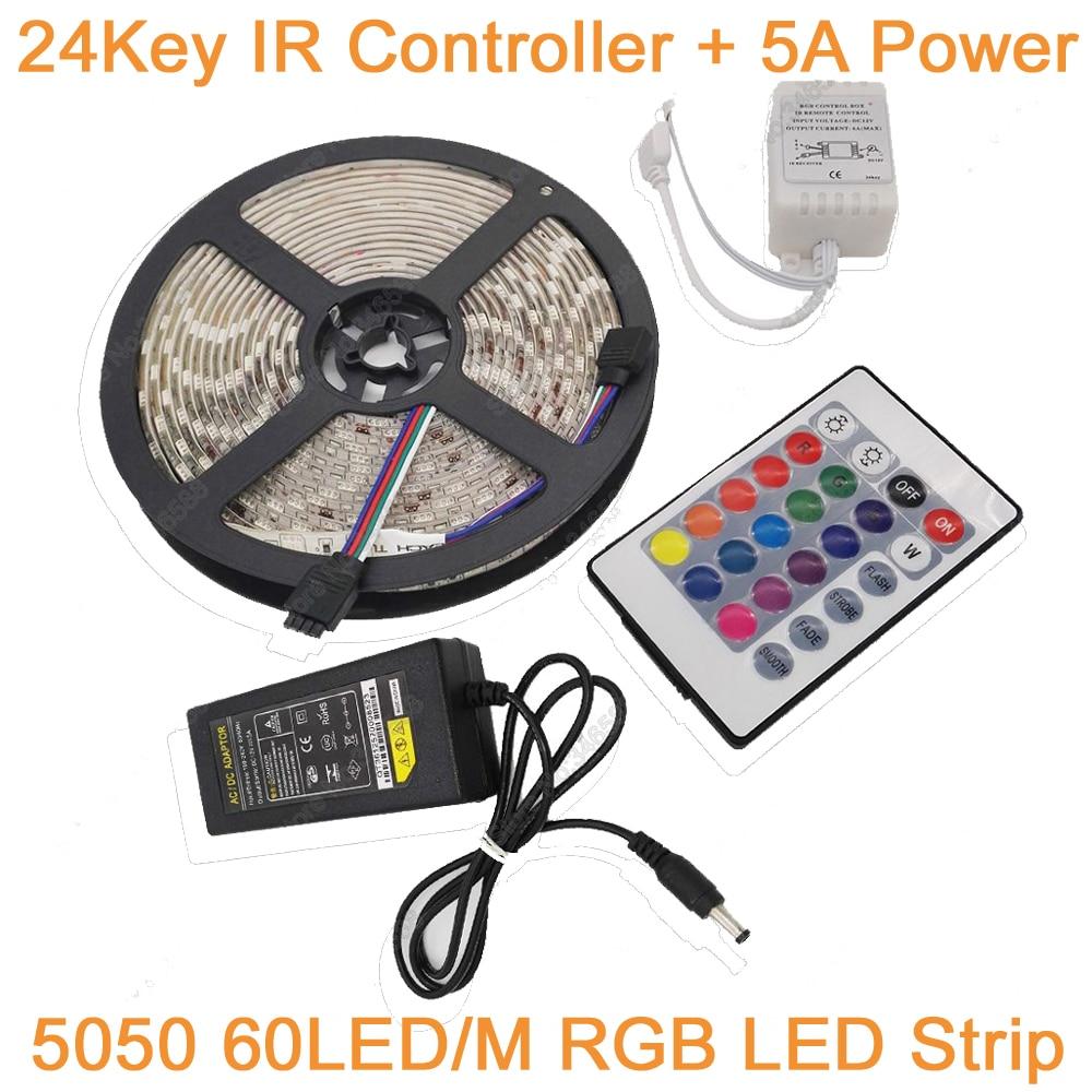 5M RGB IP20 / IP65 Waterproof LED Strip Light 5050 60LED/M DC12V LED Tape+ 24 Keys Remote Controller+12V 5A Power Adapter set