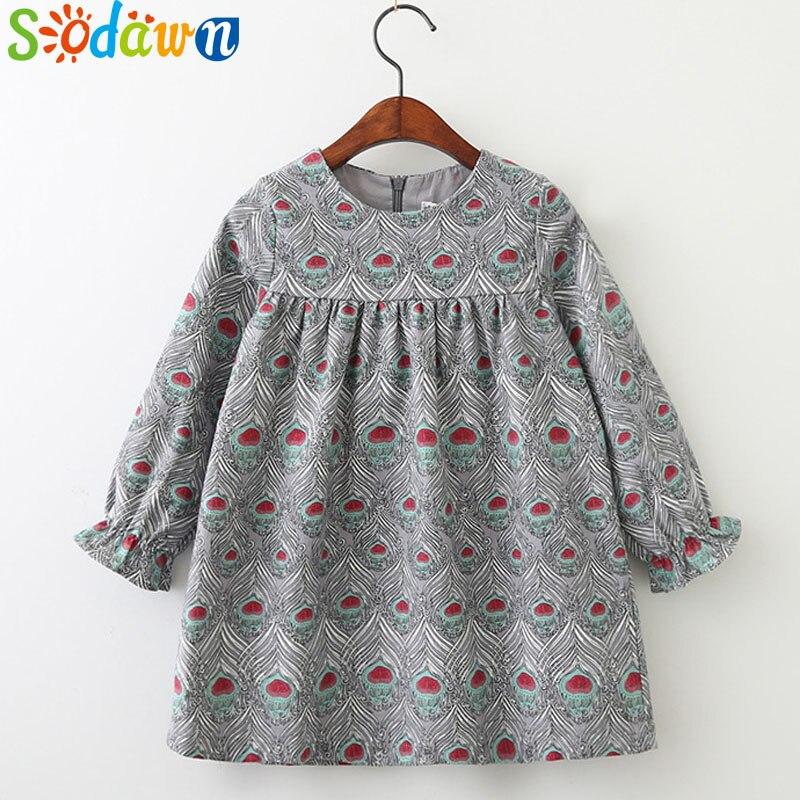 Sodawn Kids Clothing Spring Autumn New Baby Girls Clothes Printing Design Girls Dress Fashion Children Clothing Princess Dress