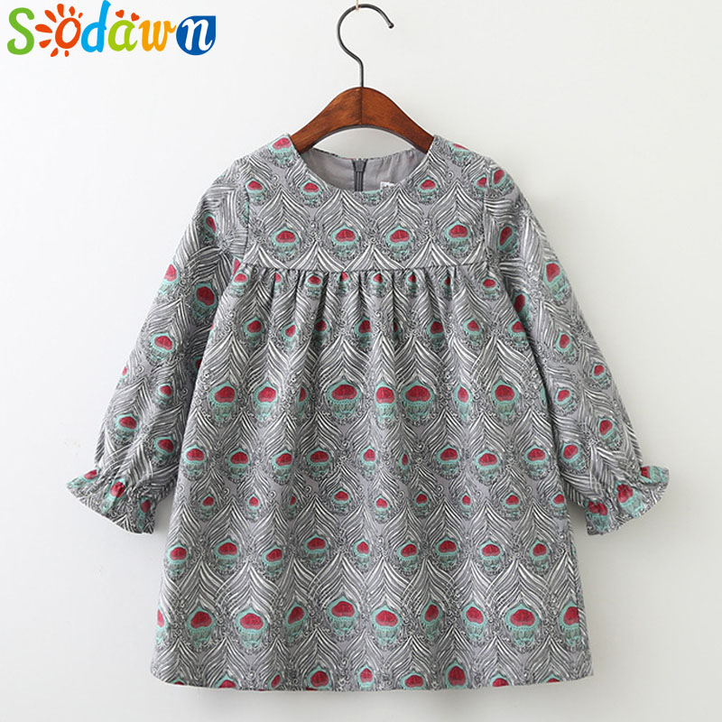 Sodawn Kids Clothing Spring Autumn New Baby Girls Clothes Printing Design Girls Dress Fashion Children Clothing Princess Dress