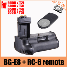 цена на HOT Vertical Battery Grip Pack For Canon EOS BG-E8 550D 600D 650D 700D T4i T3i T2i+ RC-6 Remote