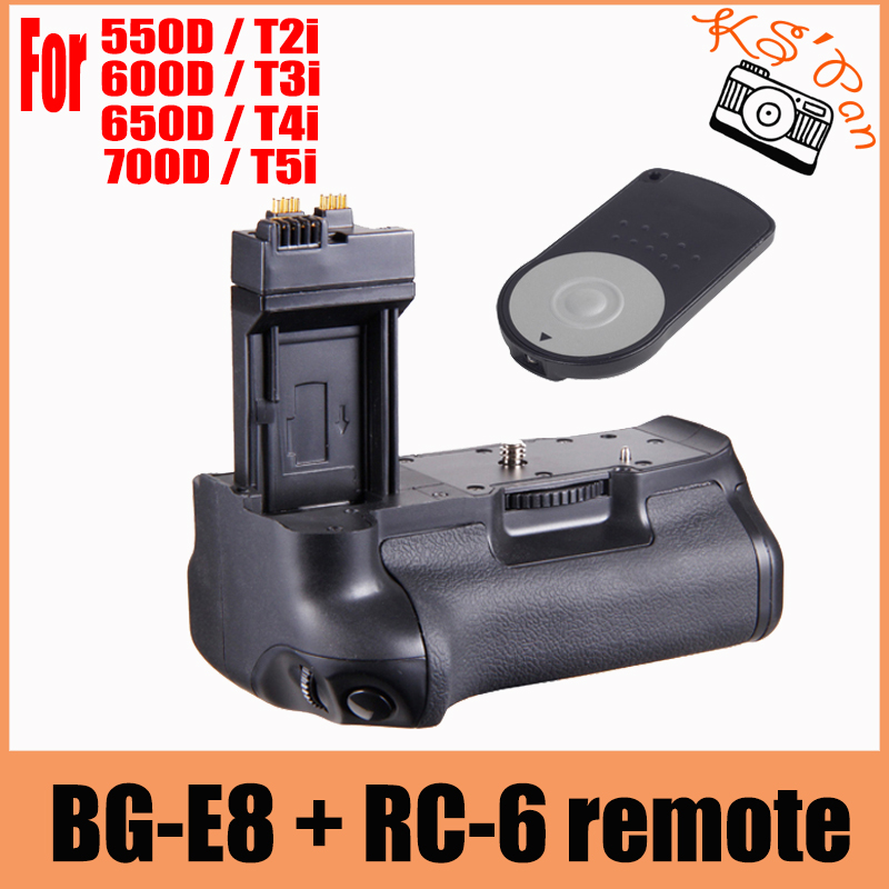 HOT Vertical Battery Grip Pack For Canon EOS BG-E8 550D 600D 650D <font><b>700D</b></font> T4i T3i T2i+ RC-6 Remote image