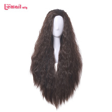 цена на L-email wig Moana Cosplay Wigs 80cm Long Curly Dark Brown Heat Resistant Synthetic Hair Perucas Cosplay Wig