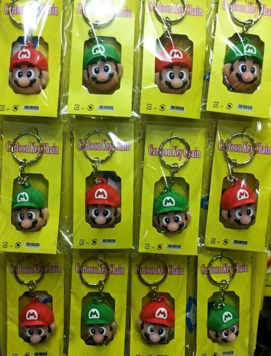 Free Shipping 1set 12 Pcs Cartoon Popular Super Mario Head Mixed 3D Key Chains Bag Pendant Gifts Party Favors