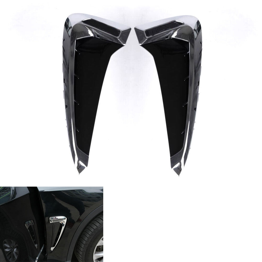 2x Car Chrome ABS Door Side Vent Air Flow Fender Outlet Cover Trim Wing Car-Styling Fit For BMW X5 F15 2014 2015 Car Accessories auto side air vent fender decoration sticker cover hole intake grille duct flow