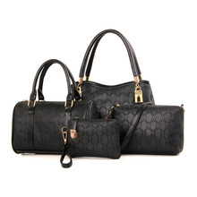 Set Leather Handbag Female 4 piece Handbag Set Women Leather Wallet Purse Wrist Small Shoulder Bag Set sac a main femme N91
