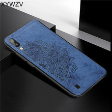 For Samsung Galaxy M10 Case Soft TPU Silicone Cloth Texture Hard PC Phone Back Cover