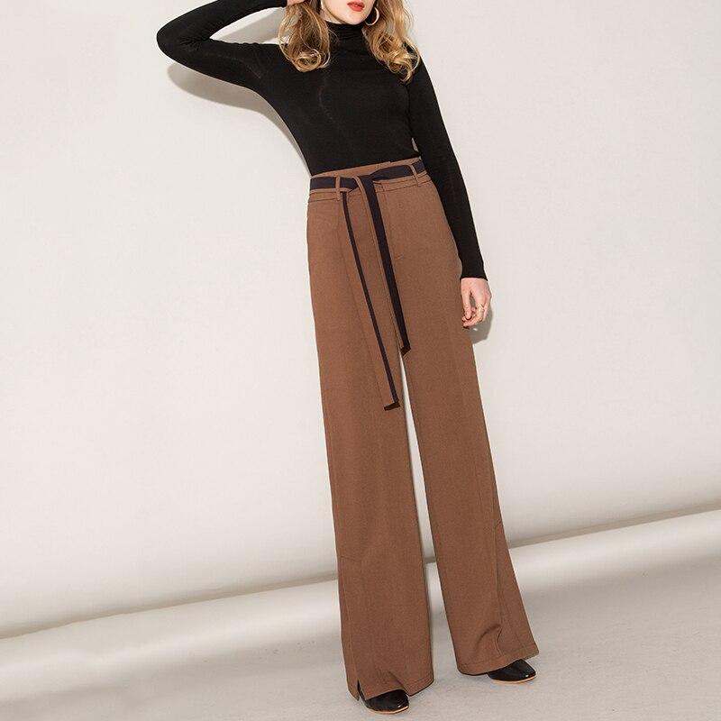 Straight Women Split   Pants   2019 Spring New High Waist Tie Casual Suit   Wide     Leg     Pants   Women Streetwear Harajuku Clothes