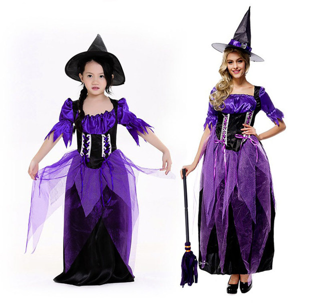 Adult Kids Halloween Family Witch Costume Ladies Long Purple Dress ...