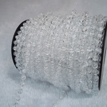 A Roll 25 Meters Length Clear Bead DIA 6MM Cotton Artificial Pearls Plastic Garland Spool Rope Wedding Home Hanging Decor