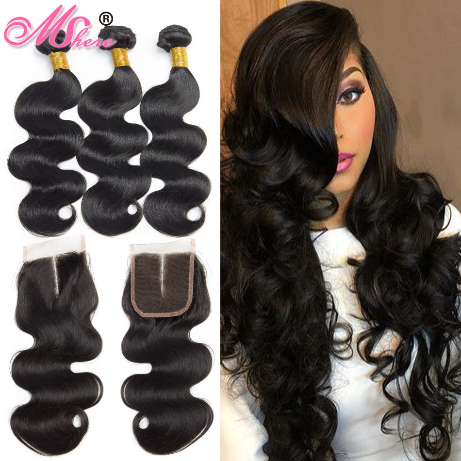 Lace Closure With Human Hair Bundles 4 Pcs Lot Brazilian Body Wave Hair With Lace Closure