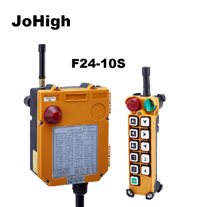 JoHigh  F24-10S Single speed Crane remote controller switch 10 Channels keys Direction 1 transmitter + 1 receiverJoHigh  F24-10S Single speed Crane remote controller switch 10 Channels keys Direction 1 transmitter + 1 receiver