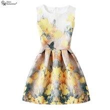 Платья с цветочным рисунком для девочек; Vestdios; детское летнее платье; детская одежда; платье принцессы без рукавов для подростков; Одежда для девочек