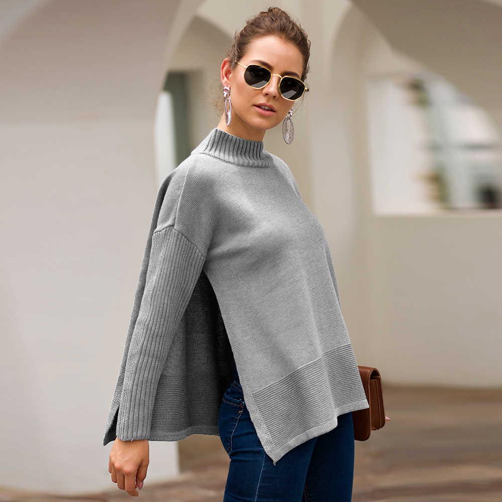 Split Rollkragen Pullover Frauen Lose Beiläufige Streifen Pullover Jumper Stricken Blau Pullover Sueter Mujer Invierno 2019