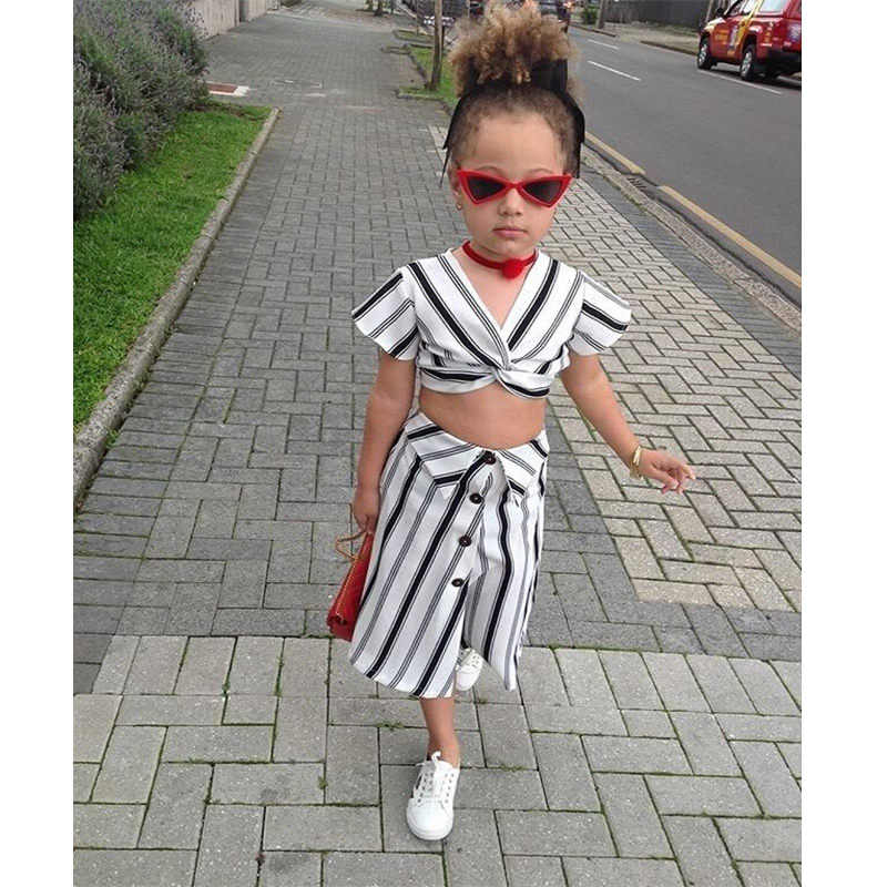 Emmababy Fashion Toddler Girls Crop Tops T shirt+Skirt Outfit Clothes Kid  Party Dress Sundress Clothing Sets  - AliExpress
