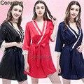 2017 Mulheres Dama de Honra Vestes Roupão Macio Sexy Kimono Robe Roupão Casa Meia Manga Curta Vestes de Seda Do Casamento de Rosa