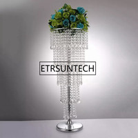 80cm Acrylic Crystal Flower Rack Wedding Centerpiece / Tabletop vase 5 Tier road leads For Party Home Decoration