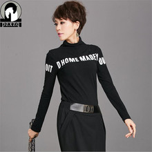 7448fa7ac2a Harajuku Autumn Winter Women T-shirt Sexy Long Sleeve Turtleneck Letter T  Shirt Female Tops