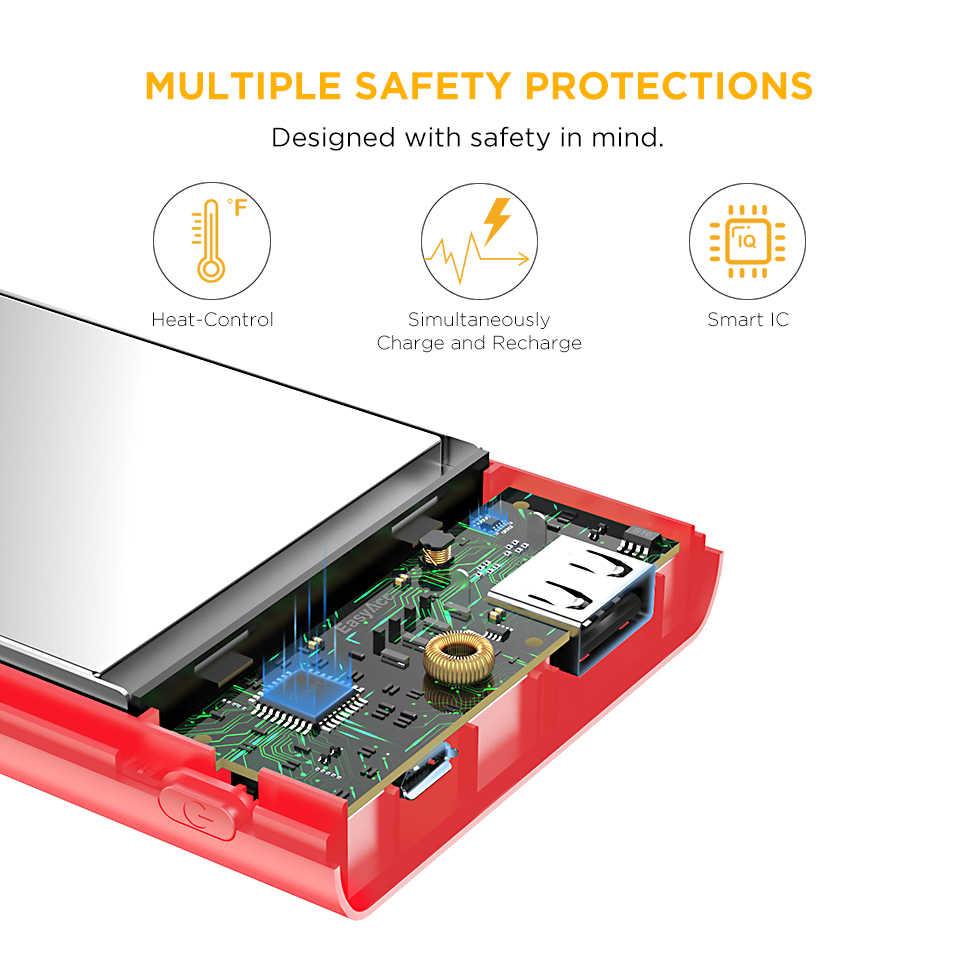 10000mAh Power Bank, Easyacc 5V 2.4A 2 Dual port External Battery Pack with flashlights Powerbank Charger 10000mah