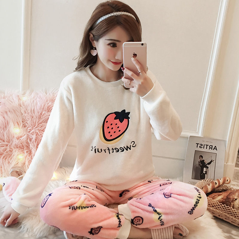 High Quality Women Pajama Sets Winter Soft Thicken Cute Cartoon Flannel Sleepwear 2 pcs/Set Tops + Warm Pants Home Clothes Mujer 98