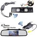 Auxiliar de estacionamento HD 4.3 'LCD 800*480 Monitor de Espelho Para Carro Europa Placa Quadro Retrovisor Câmera sem fio 4 LED Night visão