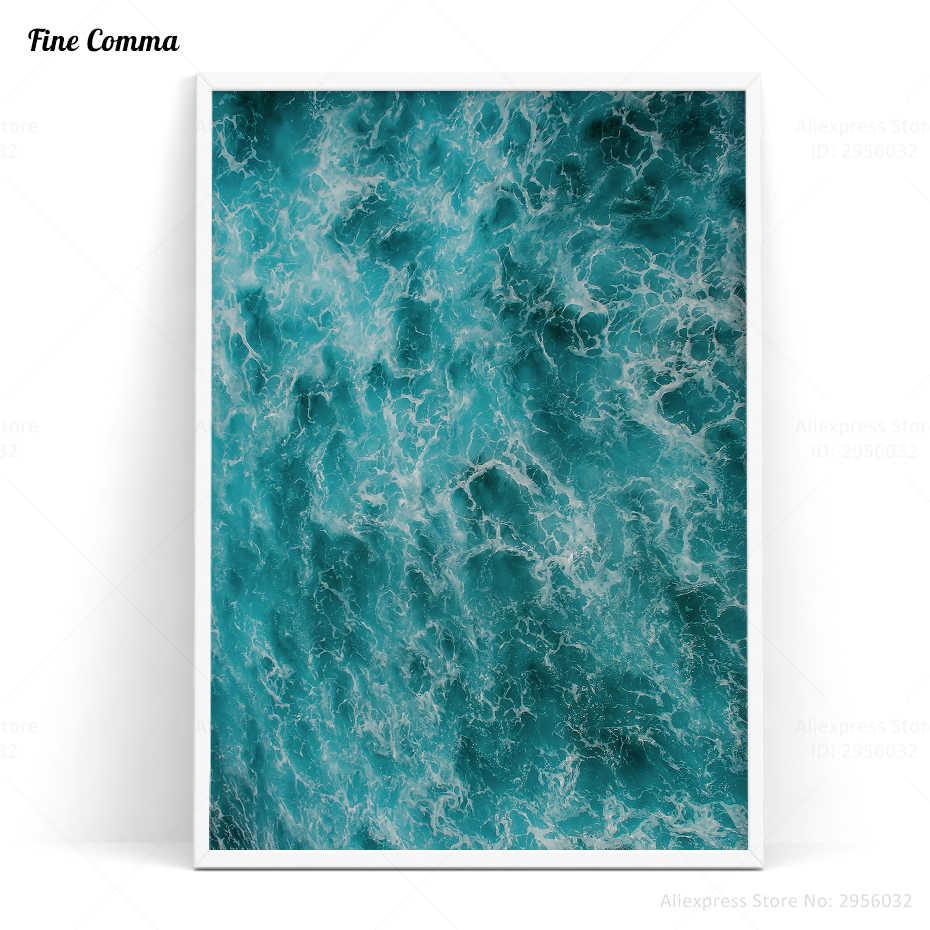 Gelombang Laut biru Poster dan Cetakan Dekorasi Nordic Skandinavia Art Poster Dinding Gambar untuk Ruang Tamu Wall Art Canvas Print
