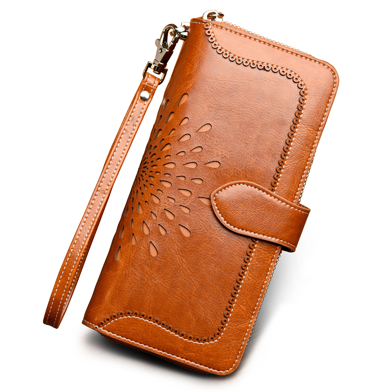 Famous Brand Oil Wax Genuine Leather Wristlet Clutch Wallet Female Vintage Hollow Flower Pattern Purse Multi Function Money Bag