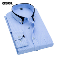 Fashion Small Stand Double Collar Slim Fit Non iron Striped Business Men Dress Shirts Party Meeting Wedding Male Tops