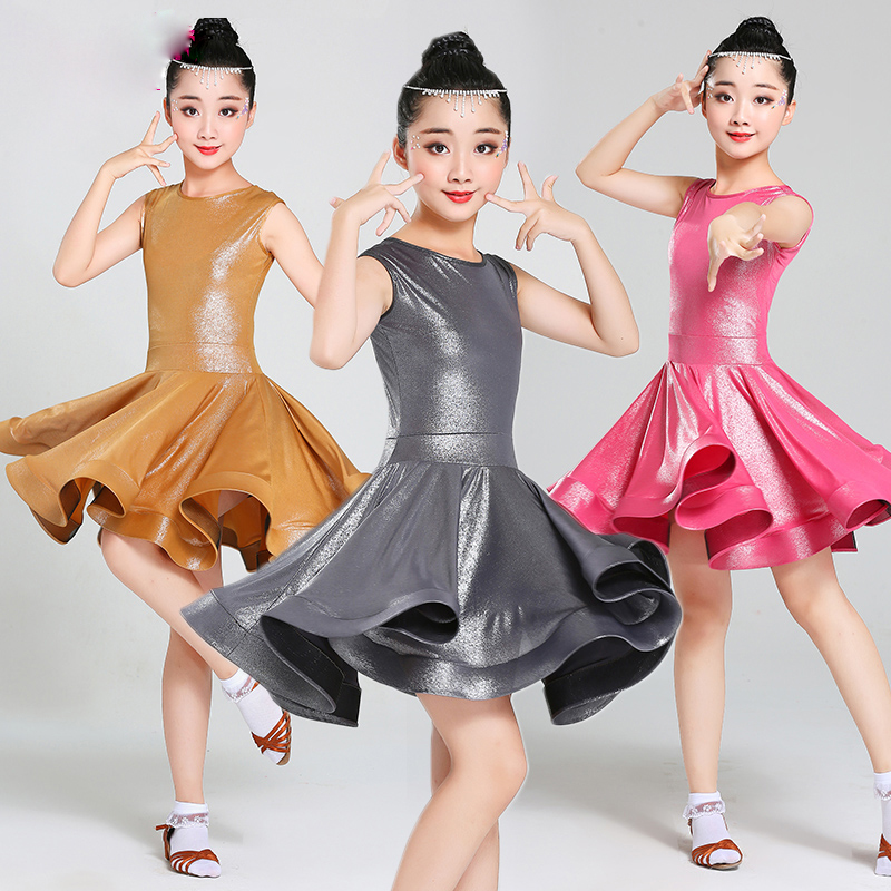 Girls Latin Dress Sleeveless Salsa Cha Cha Rumba Dancing Dresses Kids Clothes Professional Competition Performance Wear DN2682
