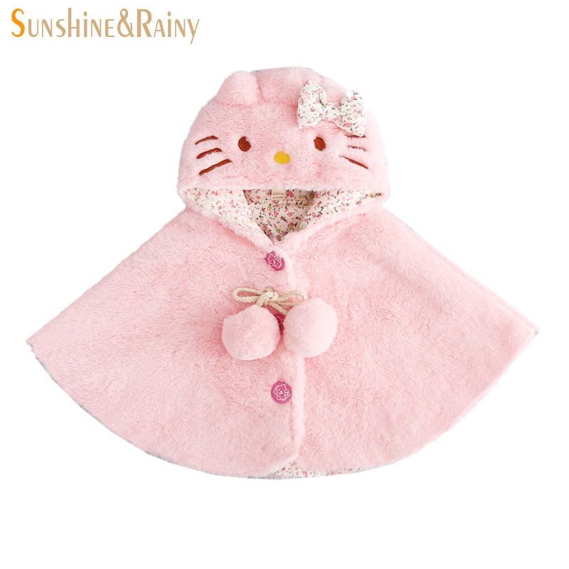 New Fashion Brand Children Girls Coats 2016 Autumn Plus Velvet Cape Coats Cats Cartoon Hooded Princess Girls Outerwear Clothes