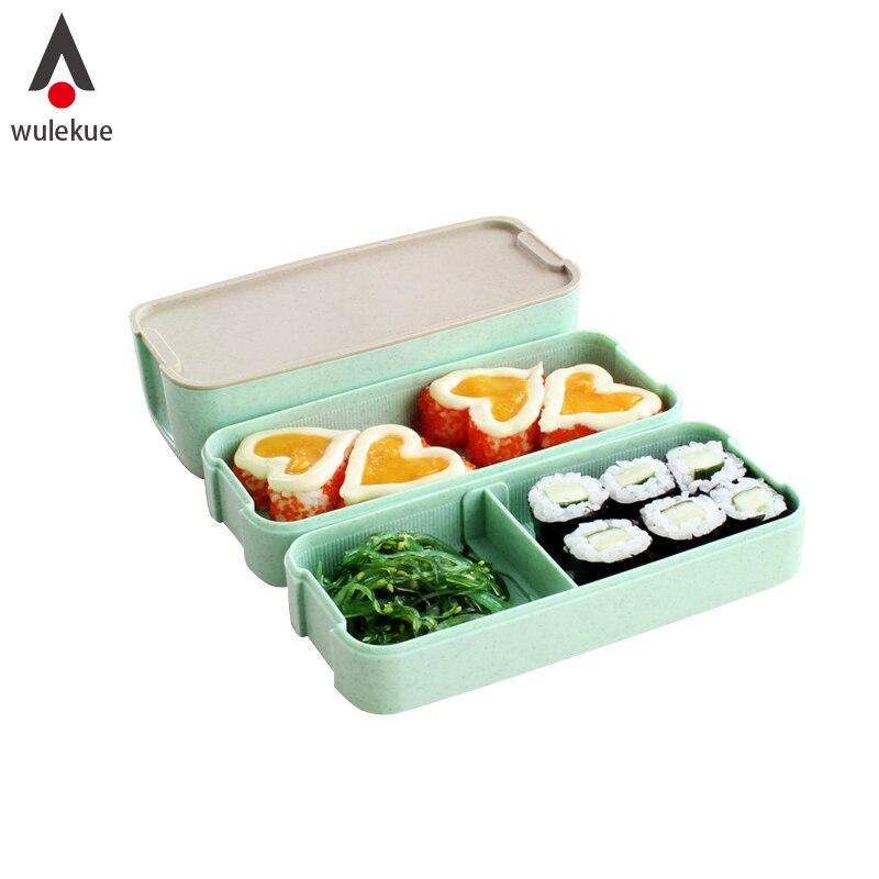 wulekue caja bento lunch box capas nios bento microondas envase de alimento de vajilla microondas