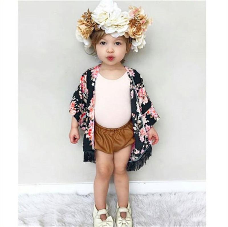 New Floral Children Girls T-shirt Short Sleeve Summer Cardigan Chiffon Clothes Wear Child Kids Toddler Girl Kimono Outfit