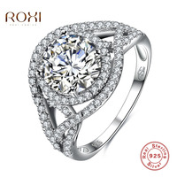 ROXI 925 Sterling Silver Ring Unique Cross Drill Design Crystal Luxury Jewelry For Romantic Valentine S