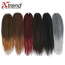 Xtrend 14-22inch 22strands/pack 1-10Packs Synthetic Box Braids Crochet Hair For African Women Ombre Color Black Brown Kannekalon(China)