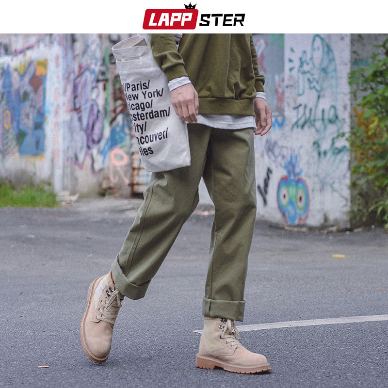 LAPPSTER Men Harajuku Wide Leg Cargo Pants 2020 Streetwear Vintage Harem Pants Male Khaki Fashions Sweatpants Cotton Trousers