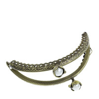 5Pcs Antique Bronze Tone Vintage Clutch Lock Arc Frame Kiss Clasp Flower Lotus Coins Purse Handbag Handle Findings 10.5x6cm
