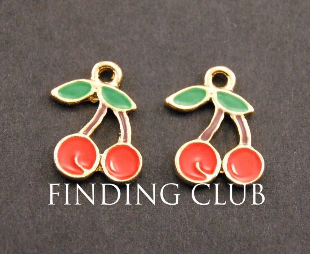 20 pcs Gold Tone Lovely Enamel Cherry Charm DIY Jewelry Findings B04