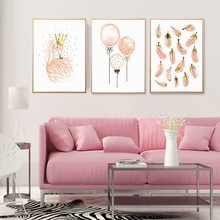 Watercolor Pink Feather Flamingo Poster Canvas Printing Nordic Painting Nursery Girl Wall Art Pictures for Kids Room Home Decor