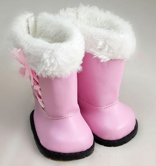 High quality warm pink boots  doll shoes for 18 inch american girl doll for baby gift