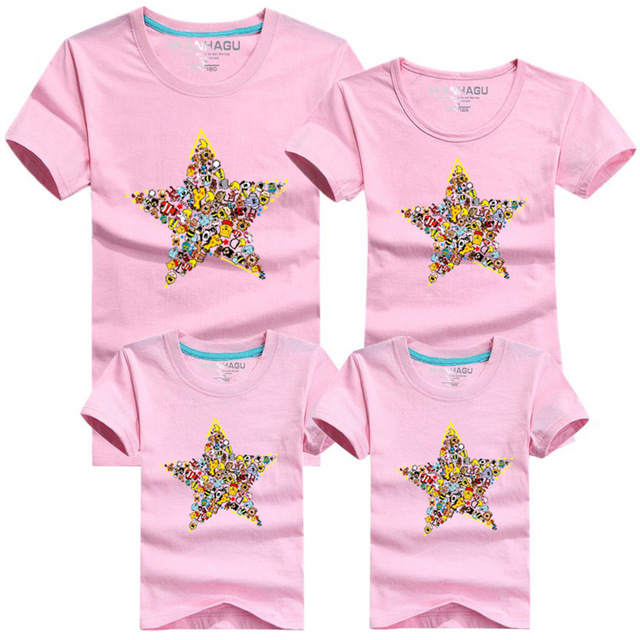 601daf9f Family Summer T-Shirts Candy Cartoon Star Print T-Shirts Clothing Tees Dad  Mom Girls Boys Family Matching Outfits Clothes Kids