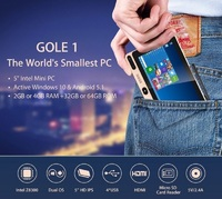 GOLE GOLE1 5 дюймов мини ПК Intel Cherry Trail Z8300 Quad core WINS/Android 5,1 4 ГБ + 64 ГБ Bluetooth 2,4 ГГц/5 ГГц двухдиапазонный Wi Fi
