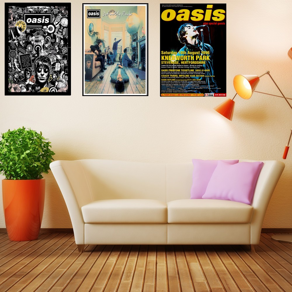 US $1 61 10% OFF|Vintage posters OASIS rock band singer poster comic Coated  paper painting stickers hanging picture draw painting retro poster-in Wall