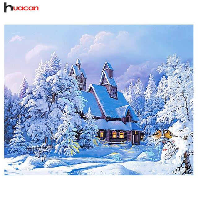 5D DIY Diament Malarstwo Scenic Diament Haft Zima Śnieg Pełne Placu Dżetów Haft Home Decor Diamenty Mozaiki