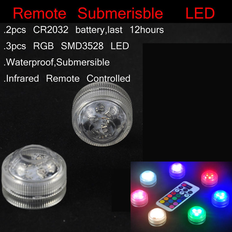 1PC Submersible LED lights with remote control for glass bongs oil rigs hookah shisha water pipe and fish tank flower vase lamps